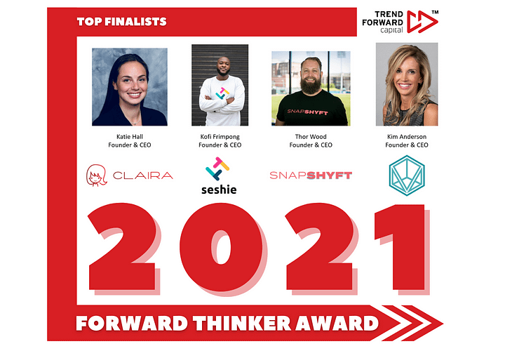 Trend Forward Capital presents the 2021 Forward Thinker Award. Applications for our 4th annual Forward Thinker Award officially closed on February 14th. With a record number of applications from across the world, including the United States, Taiwan, Canada, Italy, and Lebanon, we are excited to finally announce who the 4 finalists are. Picking the finalists this year was extremely hard, not only because of the extremely high quality of the applications but also because we are only selecting 4. Stephanie Corliss and Thor Wood, Founders of SnapShyft.